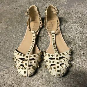 Zara Beige Studded Sandals